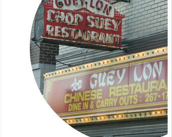 chinese food photo, vintage neon sign photography, Chicago, Old Irving Park, chop suey, red, vintage restaurant, round photo, food art