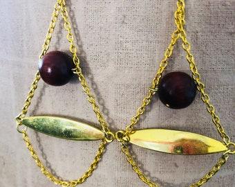 Wood Bead Gold chain Dangle Earring