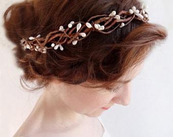 bridal headband, boho headband, bridal headpiece, boho chic prom, bridal hair vine, bridal headpiece, rustic wedding, bohemian headpiece