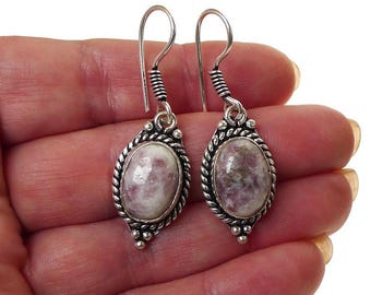 Lepidolite Earrings, Silver Boho Gemstone Earrings, Lepidolite Genuine Stone Earrings, Lepidolite Jewelry - SE-GSP359