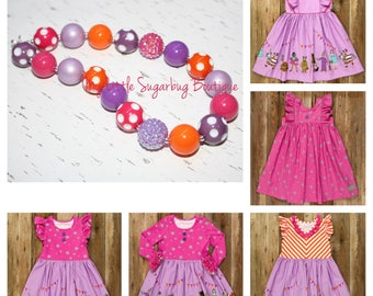 Costume Contest Chunky Necklace-Purple Orange Pink-M2M Eleanor Rose-Halloween Necklace-Bubblegum Necklace-Baby-Toddler-Girls-Women