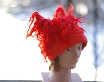 """Felted hat """"Red"""" Hat with ears Hat with curls Women hat"""