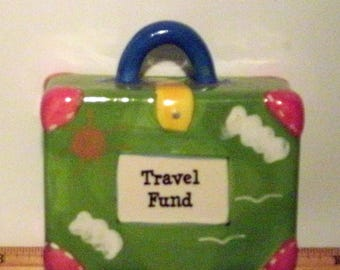 Ceramic hand painted suitcase piggy bank, Travel Fund, in good shape, Vintage