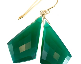 Green Onyx Earrings Faceted Long Large Triangle 2 Inches Teardrop Sterling Silver 14k solid gold 14k Gold Filled Rich Emerald Green Drops