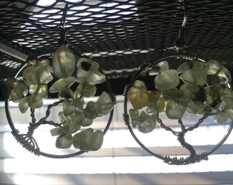 green garnet tree of life earrings