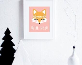 Nursery Art Printables, Lil Sis Fox Art Illustration, Little Sister Peach Nursery Decor, Sisters, Girls Nursery Wall Art, Woodland Wreath