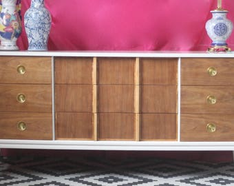 Mid Century Two Tone Dresser - Lacquered in Glossy White- Ready to Ship!