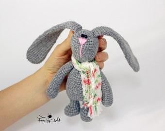 Plush bunny with long ears, woodland plush, bunny rabbit, stuffed bunny, girlfriend gift, crochet bunny