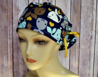 Womens Surgical Scrub Caps-Ponytail Scrub Hat-Whales-Chic2Surgery