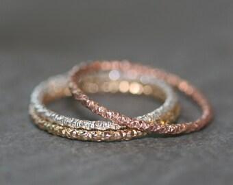 Thin Round Textured Ring