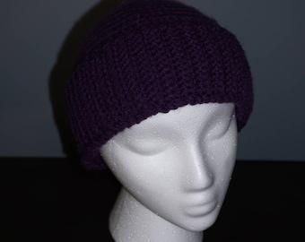 Purple Crochet Hat with Brim