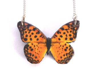 Pearl Bordered Fritillary Butterfly - Vintage Nature - Woodland - Quirky Necklace