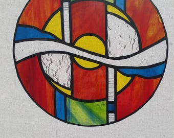 Abstract Round Stained Glass Suncatcher
