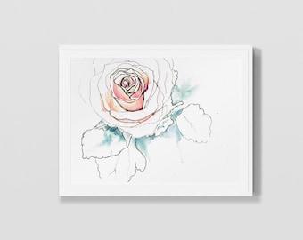 Simple Line Art Rose : Gestural hands reaching art digital download printable pen and