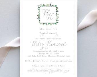 Bridal Shower Invitation / Garden Romance Invitation Suite / Classic Monogram Garden Wedding / #1137