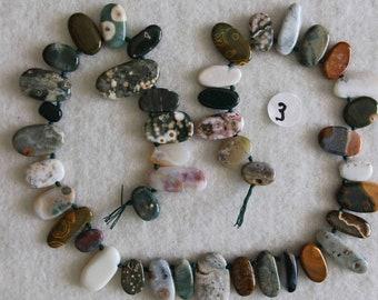Jasper, Ocean Jasper, Ocean Jasper Drops, Graduated Drops, Natural Stone, Semi Precious, Full Strand, 9-24 mm, AdrianasBeads