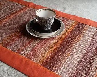 Handwoven Table Runner - Gift for Mom - Christmas gift - Orange, brown, mustard, Easter gift