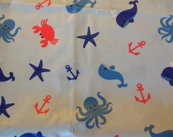 "PUL fabric, diaper fabric, polyurethane laminate fabric,  PUL fabric ocean animals print, 34""."
