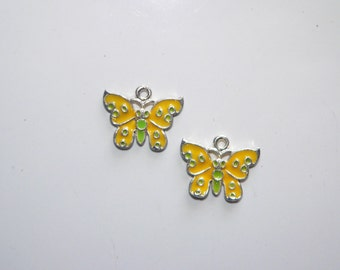 Yellow Butterfly Charms, Jewelry Supplies, Pendant