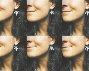 5-leaf cannabis earrings | heavy oxidized sterling silver | recycled silver earwires