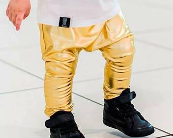 Baby and Toddler Metallic Gold Harem Legging Pants St Patrick's Mardi Gras Outfit Birthday Saints Shiny Take Home Girl Boy Modern Boy Girl