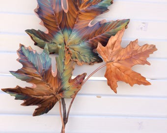 Flame Painted Copper Maple leaf branch-  heat colored,