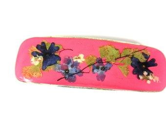 Passionate Pink, Real Flowers Barrette, Pressed Flowers Jewelry, Real Flower Jewelry, (1354)