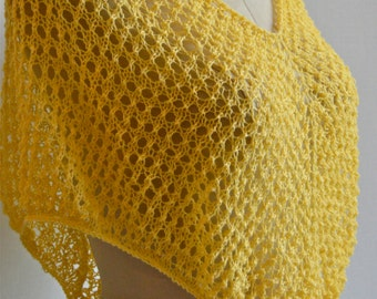 Yellow Summer Cover Up, Beaded Lace Shawl, Summer Poncho, Open Knit Cape, Hand Knit Beach Cover-Up, Beaded Boho Poncho,