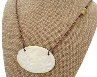 Daisy Asymmetrical Necklace Butter Yellow Necklace Bohemian Jewelry Ceramic Stone Copper Jewelry Handmade Jewelry Statement Necklace Califor