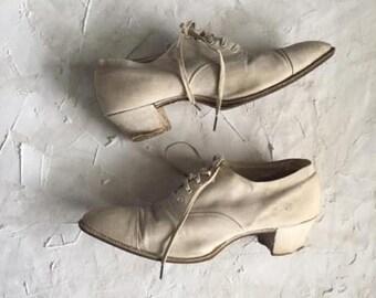 Vintage 1910's Womens Canvas Shoes