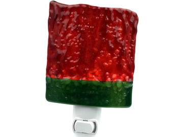 Night Light with Red & Green Art Glass, Accent Lighting, Large