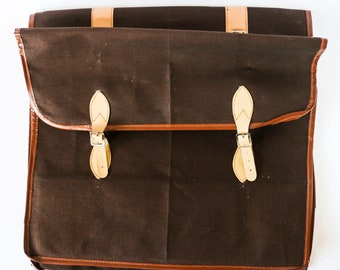 Bicycle bag to enhance your luggage rack - Double-sided vintage brown bike carrier case, fabric & faux leather mix