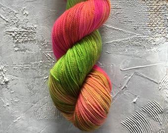 Hand Dyed Yarn - Fingering Sock Yarn - Between Hope and Optimism - merino/nylon