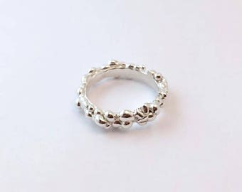 Sterling Silver Pebble Band Ring, Stackable Ring, Sterling Silver Stackable Ring, Pebble Ring, Band Ring