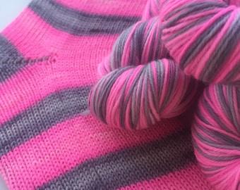 Hand dyed self striping merino sock yarn - Snuzzle
