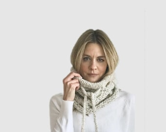 Knit Cabled Cowl with Drawstring and faux fur poms | Wheat/tan/beige/taupe | THE FILO COWL