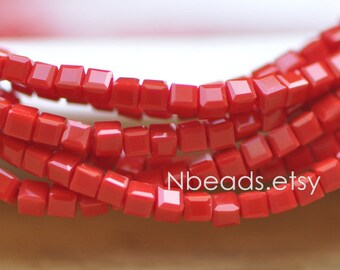 200 beads- Faceted Glass Cube, 2mm Tiny Faceted Crystal Spacer beads, Opaque Red - (#FZ02-18)