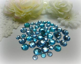 50 Flat Back Rhinestones Acrylic Gems in Light Blue for Scrapbooking Cards Mini Albums Altered Art Projects Tags and Papercrafts Jewelry DIY