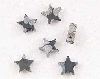 Snowflake Obsidian Star Beads (Side Drilled) - Set of 6