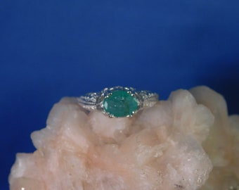 1.25 ct. Oval Columbian Emerald Ring 1920's Filigree Style Sterling Silver