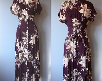 vintage corset dress sz 8 / burgundy floral dress / 90s rayon floral dress d32