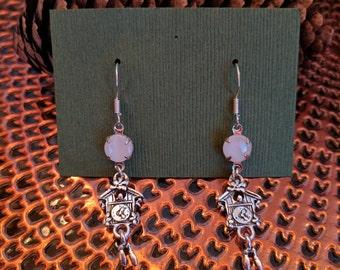 Cuckoo Clock Glass Dangle Earrings