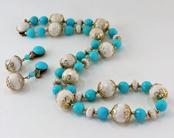 Vintage Signed Hong Kong Demi Parure Set Goldtone White Turquoise Blue Filigree Faceted Bead Beaded Necklace Clip On Dangle Drop Earrings