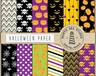 TRICK OR TREAT, Halloween Digital Paper, Halloween Digital Backgrounds, Halloween Patterns, Halloween Pumpkin, Scrapbook Papers, BUY5FOR8