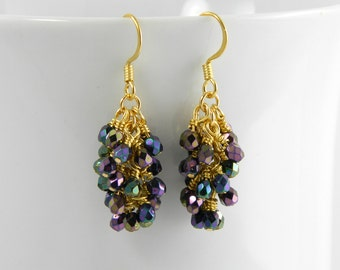 Dark Purple Cascade Dangle Earrings with Gold Surgical Steel Ear Wires