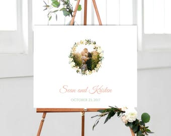 Watercolor Wreath Wedding Guest book Alternative, Blush and Green guestbook, Floral Wreath wedding guest book, Photo wedding guest book