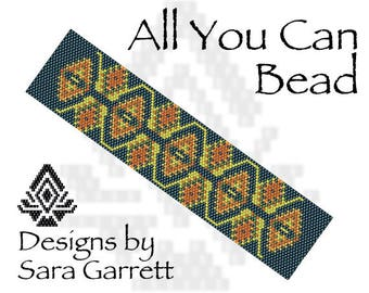 Peyote Bracelet Pattern 206 Bead Weaving INSTANT DOWNLOAD PDF Even Count