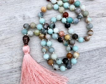 Dreams & Desires ~ Amazonite and Copper Buddha ~ 108 bead, hand knotted tassel necklace, yoga jewelry, chakra necklace, meditation beads