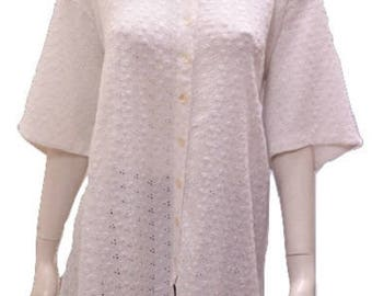 Plus size round neck cut work button down short sleeved tunic White 16 18 20 22 24