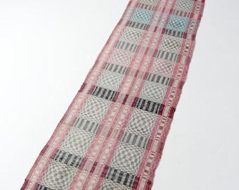 1920s rag rug, vintage Scandinavian floor runner, 10 ft